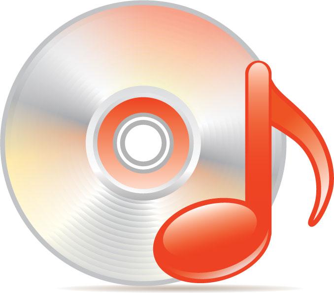 赤い音符とCD